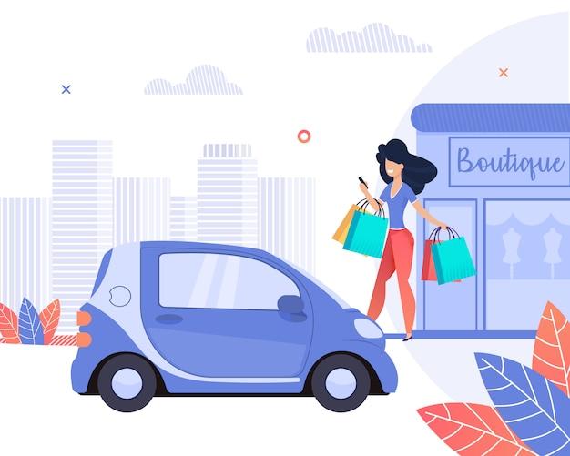 Boutique. happy girl gaat winkelen bij boutique. Premium Vector