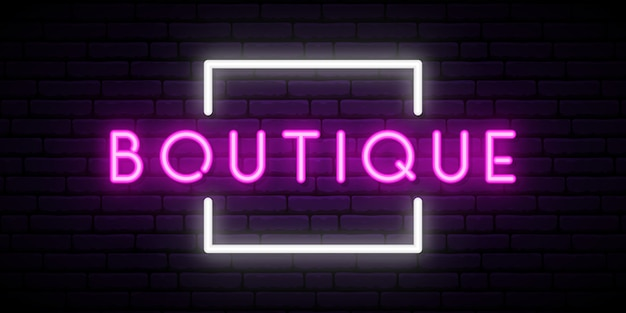 Boutique neon teken vector. Premium Vector
