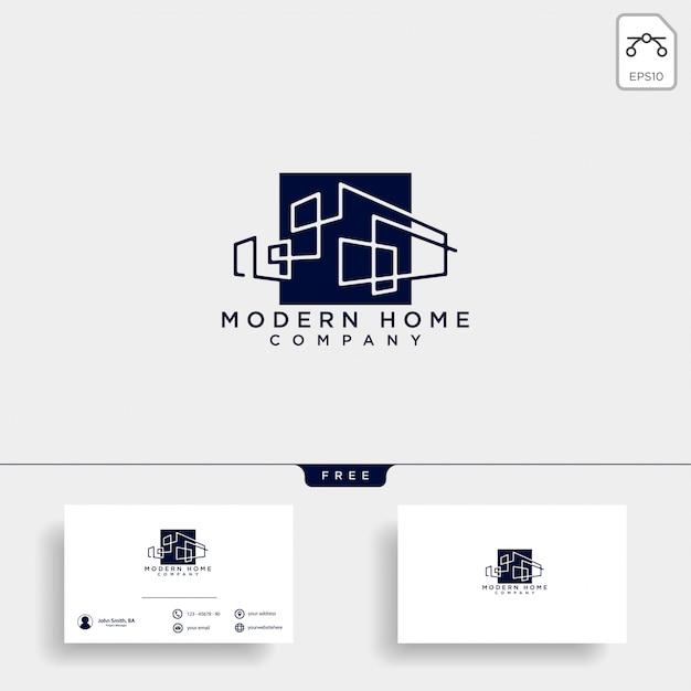 Bouw architect logo ontwerp pictogram vectorelement Premium Vector