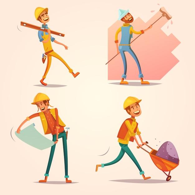 Bouw bouwer werknemer in gele uniforme helm op het werk cartoon cartoon retro pictogrammen instellen Gratis Vector