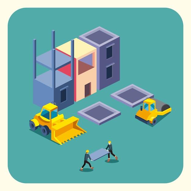 Bouw bulldozer en fabriek isometrische stijl pictogram ontwerp van het remodelleren van werken en repareren thema Premium Vector