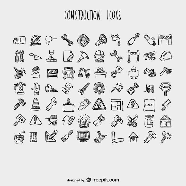 Bouw cartoon iconen collectie Gratis Vector