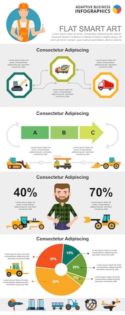 Bouw en management concept infographic grafieken instellen Gratis Vector