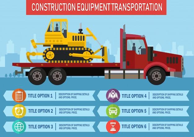 Bouw equipment transport. vector. Premium Vector
