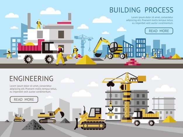 Bouw gekleurde die banner met de bouwproces en techniekbeschrijvingen plus knopen vectorillustratie wordt geplaatst Gratis Vector