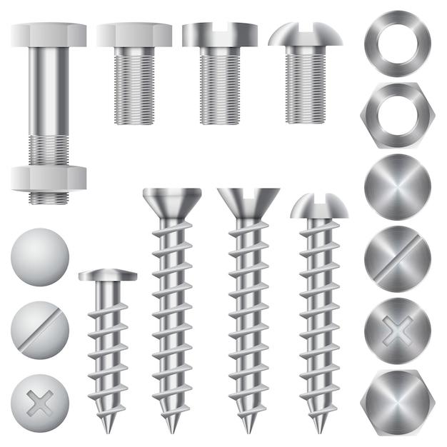 Bouw hardware pictogrammen. schroeven, bouten, moeren en klinknagels. apparatuur roestvrij, metalli fix versnelling, vectorillustratie Gratis Vector