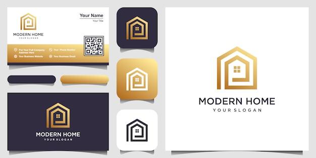 Bouw huislogo met lijnstijl. home build abstract voor logo en visitekaartje ontwerpen Premium Vector