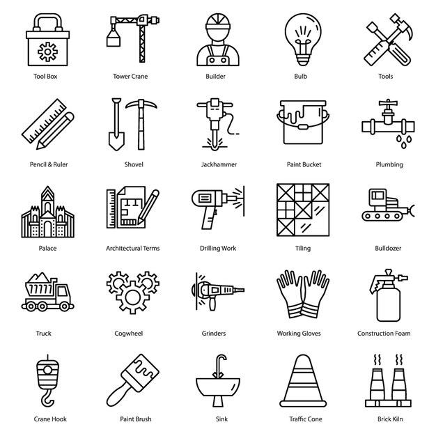 Bouw hulpmiddelen lijn pictogrammen Premium Vector