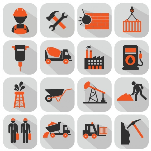 Bouw iconen collectie Gratis Vector