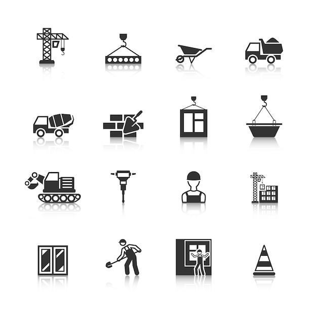 Bouw iconen collectie Gratis Vector