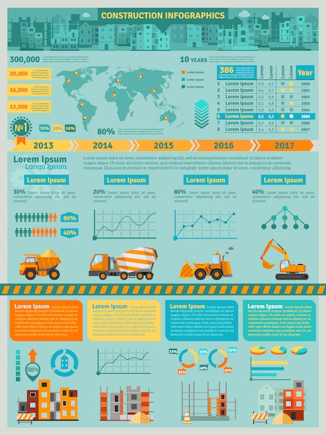 Bouw infographics set Gratis Vector