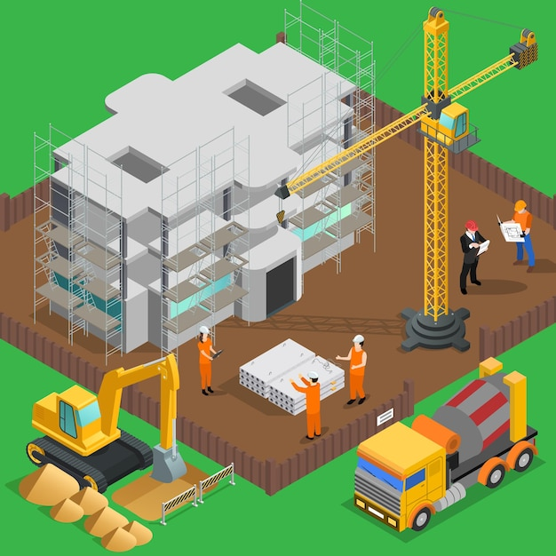 Bouw isometrische samenstelling met uitzicht op hoogbouw werf met arbeiders werknemers voertuigen en machines Gratis Vector