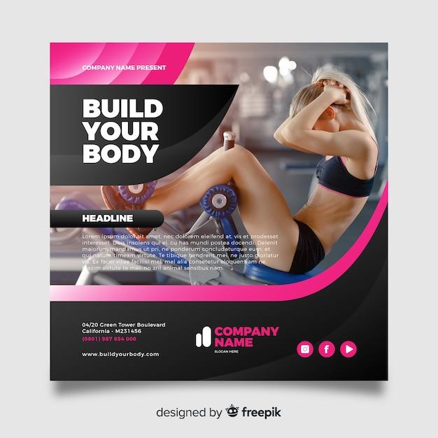 Bouw je body sport flyer met foto Gratis Vector