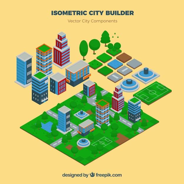 Bouw je stad in isometrisch aanzicht Gratis Vector