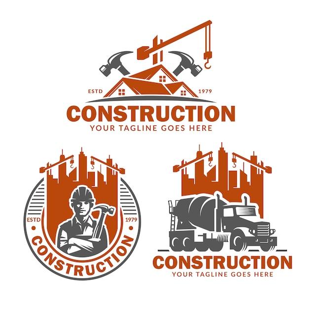 Bouw logo sjabloon set, vector pack van bouw logo Premium Vector