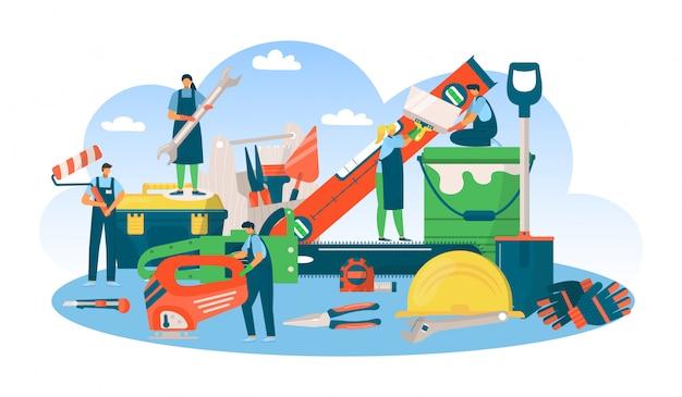 Bouw professioneel gereedschapsconcept, man vrouw mensen bij reparatie werk illustratie. apparatuur voor de industrie van bouwers. ingenieur bezettingsdienst, bouwbaan. Premium Vector