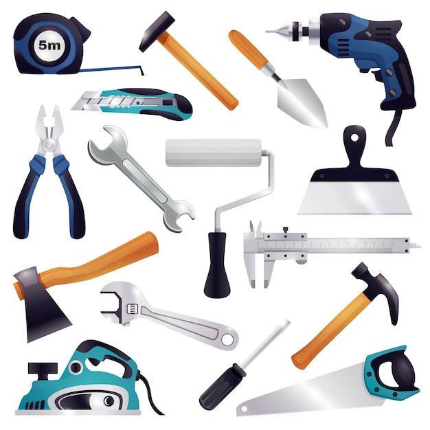 Bouw renovatie timmerwerk tools set Gratis Vector
