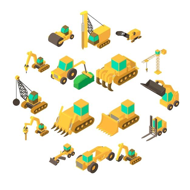Bouw voertuigen geplaatste pictogrammen, isometrische stijl Premium Vector