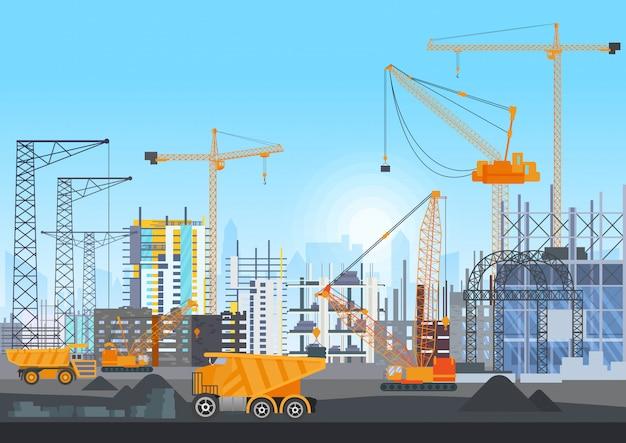 Bouw website in aanbouw met torenkranen Premium Vector