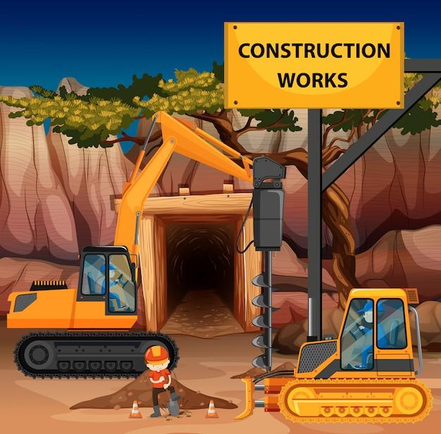 Bouw werkt scène met boor en bulldozer Premium Vector