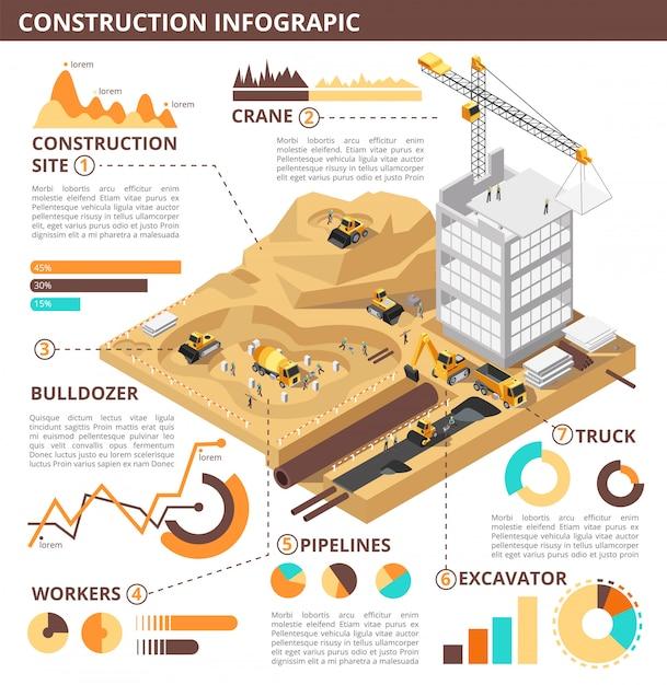 Bouwconstructie 3d isometrische vector industriële infographic sjabloon Premium Vector