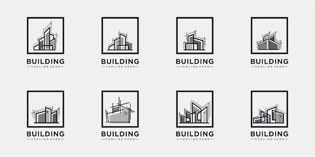 Bouwen in een frame logo concept collecties Premium Vector