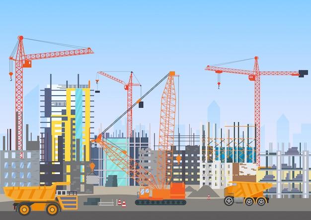 Bouwen stad skyline in aanbouw architectuur website met torenkranen. Premium Vector