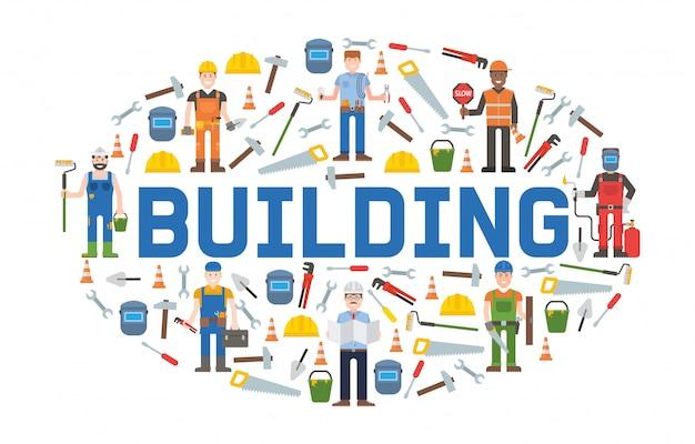 Bouwen van service tools banner home reparatie. bouwuitrusting. handbenodigdheden voor woningrenovatie en -herbouw. Premium Vector