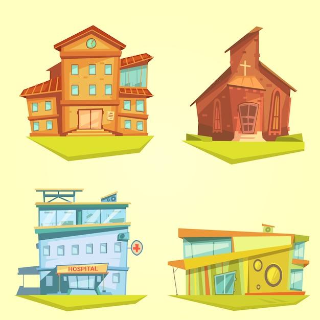 Bouwend beeldverhaal met het ziekenhuiskerk en school wordt geplaatst op gele achtergrond die Gratis Vector