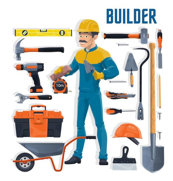 Bouwer met bouw- en huisreparatie gereedschappen cartoon. metselaar of metselaar met schop, hamer, gereedschapskist en troffel, steen, spatel, boor en moersleutel, kruiwagen en bouwhelm Premium Vector