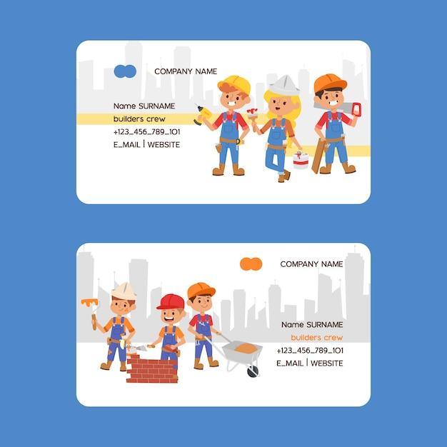 Bouwer visitekaartje constructor mensen karakter bouwconstructie visitekaartje Premium Vector