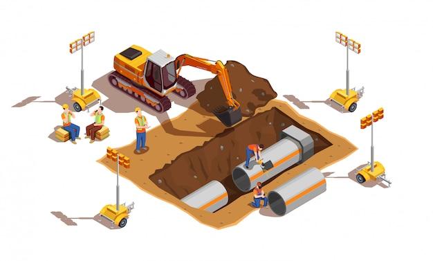 Bouwers met bouwvoertuig en verlichtingsapparatuur Gratis Vector