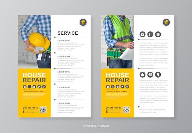 Bouwgereedschap cover en achterpagina a4 flyer ontwerpsjabloon Premium Vector