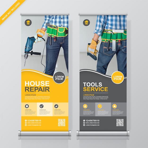 Bouwhulpmiddelen rollup en staande banner ontwerpsjabloon Premium Vector