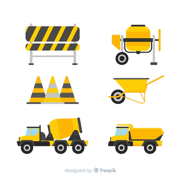 Bouwmachines collectie Gratis Vector