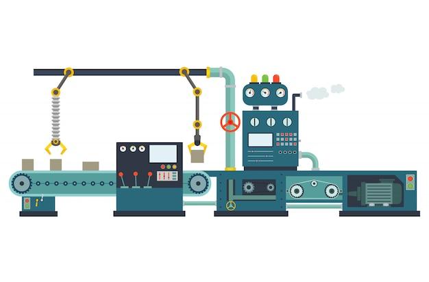 Bouwmachines voor industriële fabrieken. Premium Vector