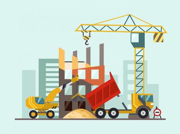 Bouwproces met huizen en bouwmachines. vector illustratie. Premium Vector