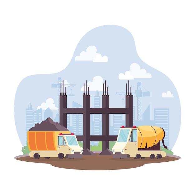 Bouwstortplaats en betonmixervoertuigen in vector de illustratieontwerp van de werkplaatsscène Premium Vector