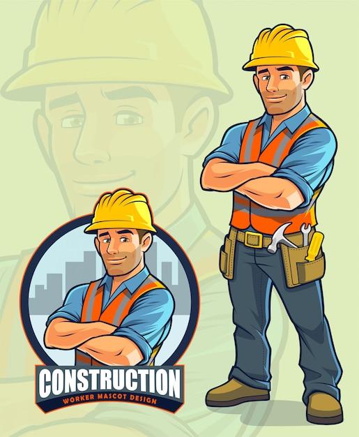 Bouwvakker mascotte ontwerp voor bouwbedrijven Premium Vector