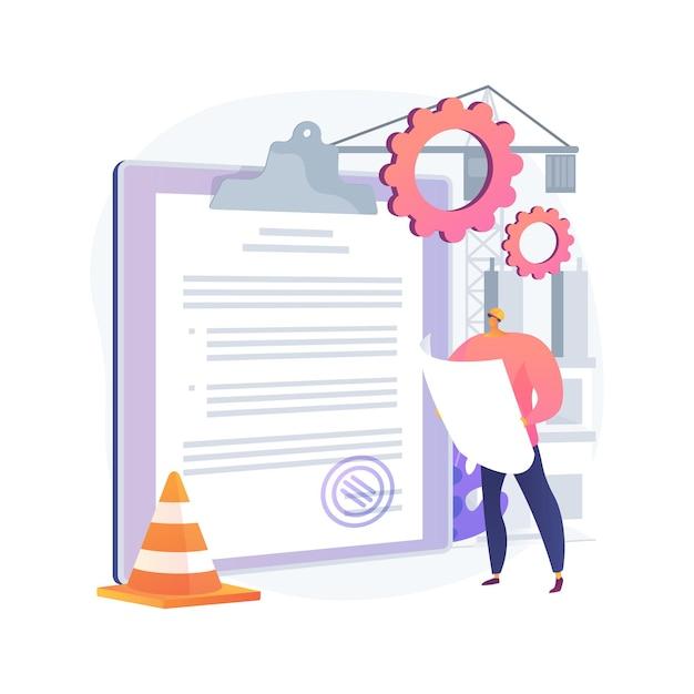 Bouwvergunning abstract concept illustratie. officiële goedkeuring, aannemerservice, renovatieproject van onroerend goed, huisblauwdruk, aanvraagformulier, onroerendgoedbedrijf Gratis Vector