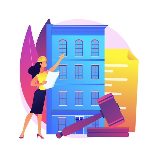 Bouwvoorschriften abstract concept illustratie. gebouwbeheer, constructeursdiensten, aanvraagformulier indienen, bouwplaats, juridisch document, veiligheidsbeleid Gratis Vector