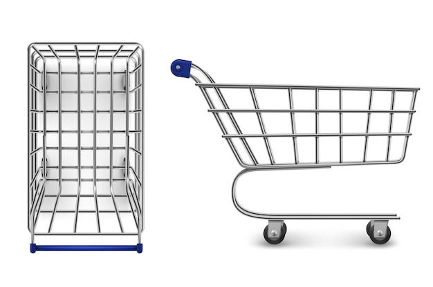 Boven- en zijaanzicht van het winkelwagentje, lege geïsoleerde supermarktkar Gratis Vector