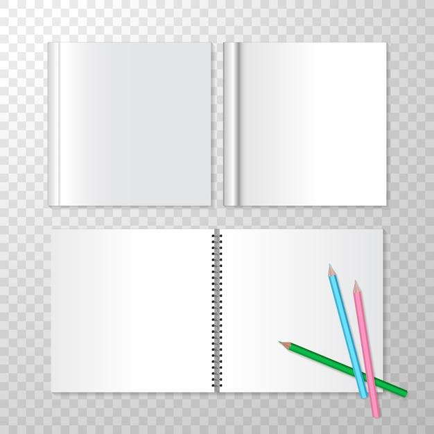 Bovenaanzicht geopende notitieblokken op spiraalsgewijs en vierkant gesloten boek Gratis Vector