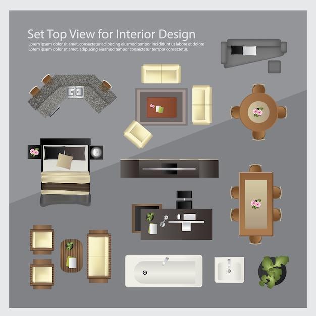 Bovenaanzicht instellen voor interieurontwerp. geïsoleerde illustratie Premium Vector