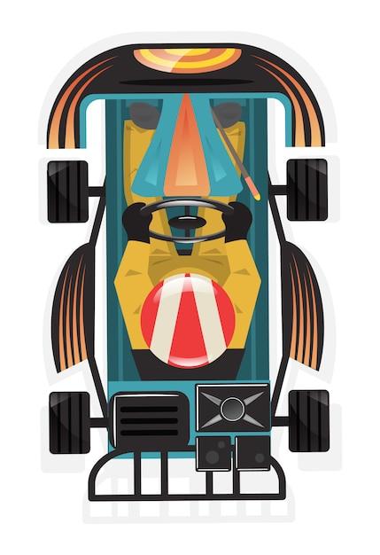Bovenaanzicht kart racer geïsoleerde pictogram Premium Vector
