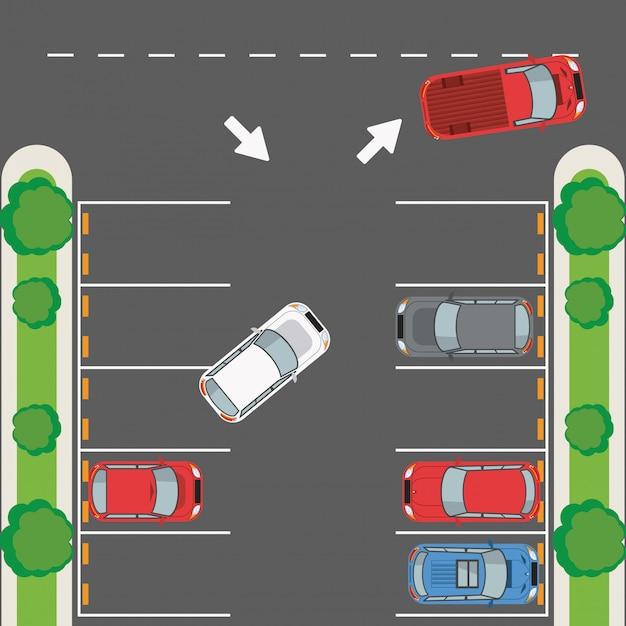 Bovenaanzicht parkeerzone Premium Vector