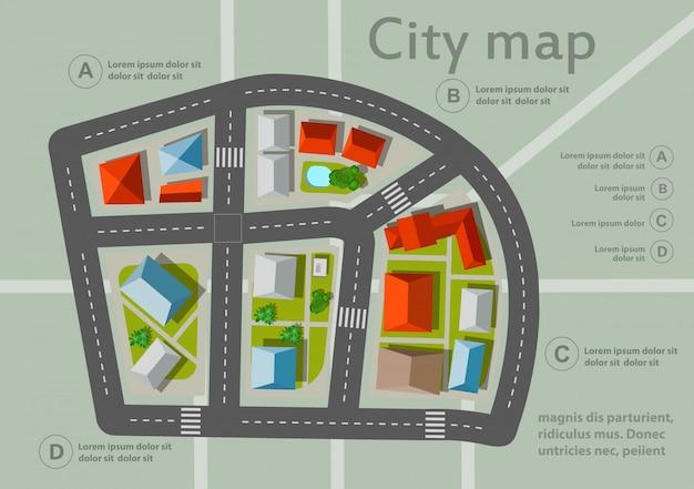 Bovenaanzicht stadsplattegrond Premium Vector