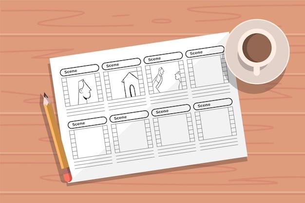 Bovenaanzicht storyboard concept en koffie Gratis Vector