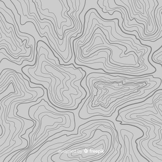 Bovenaanzicht topografische grijze lijnen achtergrond Gratis Vector