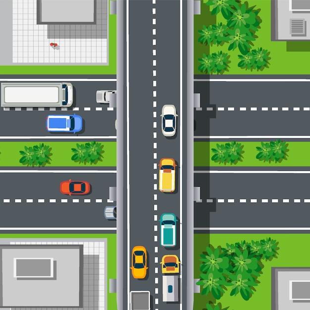 Bovenaanzicht van bovenaf op snelweg snelweg Premium Vector